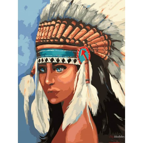 Paint by numbers ' Native American girl' Size 40x50cm DIY art. by Tsvetnoy - MG2113e