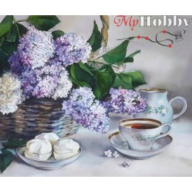 Diamond embroidery and mosaic paintings ' Lilac Flowers in a Basket' Size 40x50cm DIY art. by Tsvetnoy - LG082e