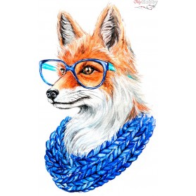 Diamond embroidery and mosaic paintings ' Fox with glasses' Size 20x30cm DIY art. by Tsvetnoy - LC011e