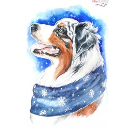 Diamond embroidery and mosaic paintings ' Winter dog' Size 20x30cm DIY art. by Tsvetnoy - LC014e