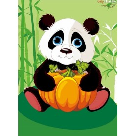 Diamond embroidery and mosaic paintings ' Panda with Pumpkin' Size 17х22cm DIY art. by Tsvetnoy - X008e