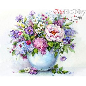 Diamond embroidery and mosaic paintings ' Delicate flowers in a white vase' Size 40x50cm DIY art. by Tsvetnoy - LG147e