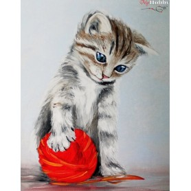 Diamond embroidery and mosaic paintings ' Kitten with a red clew' Size 40x50cm DIY art. by Tsvetnoy - LG012e