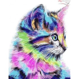 Diamond embroidery and mosaic paintings ' Colorful Kitten' Size 40x50cm DIY art. by Tsvetnoy - LG009e