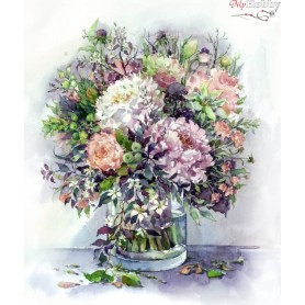 Teemanditikand / teemantmaal (mosaiik) ' Bouquet with peonies and herbs in lilac colors' Size 40x50cm, Tsvetnoy - LG026e