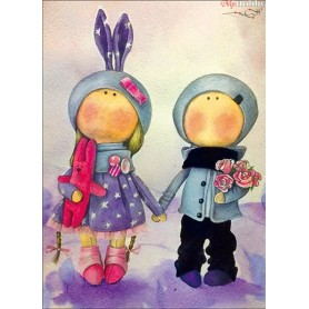 Diamond embroidery and mosaic paintings ' Doll Anna and Mark' Size 30x40cm DIY art. by Tsvetnoy - LE048e