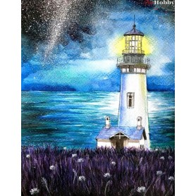 Teemanditikand / teemantmaal (mosaiik) ' Lighthouse in the Night' Size 40x50cm, Tsvetnoy - LG060e