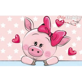 Diamond embroidery and mosaic paintings ' Piggy in Love' Size 20x30cm DIY art. by Tsvetnoy - LC007e
