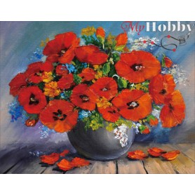Diamond embroidery and mosaic paintings ' Red Bouquet' Size 40x50cm DIY art. by Tsvetnoy - LG206e