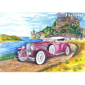 Teemanditikand / teemantmaal (mosaiik) ' Cadillac on the background of the castle' Size 30x40cm, Tsvetnoy - LE041e