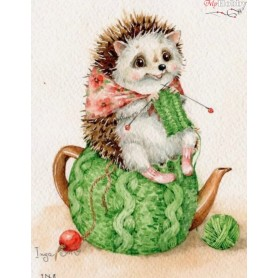 Diamond embroidery and mosaic paintings ' Hedgehog is cozy' Size 30x40cm DIY art. by Tsvetnoy - LE032e