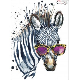 Diamond embroidery and mosaic paintings ' Zebra with Glasses' Size 30x40cm DIY art. by Tsvetnoy - LE112e