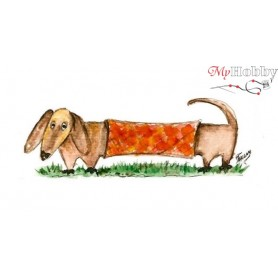 Diamond embroidery and mosaic paintings ' Dachshund Lilo' Size 17х22cm DIY art. by Tsvetnoy - X001e