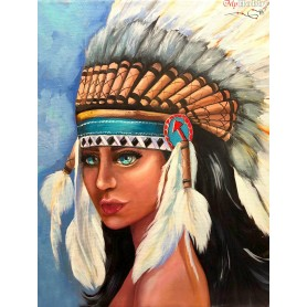 Diamond embroidery and mosaic paintings ' Native American girl' Size 50x65cm DIY art. by Tsvetnoy - LMC012e