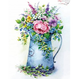 Diamond embroidery and mosaic paintings ' Romantic bouquet in a watering can' Size 40x50cm DIY art. by Tsvetnoy - LG149e