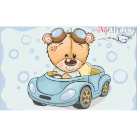 Diamond embroidery and mosaic paintings ' Teddy Bear in a Car' Size 20x30cm DIY art. by Tsvetnoy - LC029e