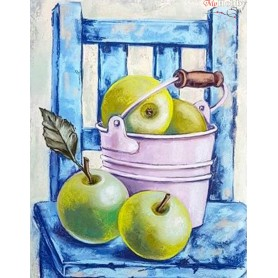 Diamond embroidery and mosaic paintings ' Still Life with Green Apples' Size 40x50cm DIY art. by Tsvetnoy - LG128e