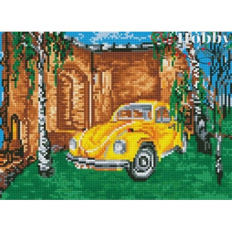 Teemanditikand / teemantmaal (mosaiik) ' Yellow Car Among the Birches' Size 30x40cm, Tsvetnoy - LE039e