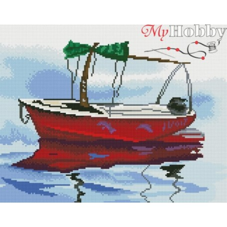 Diamond embroidery and mosaic paintings ' Boat in Calm Waters' Size 40x50cm DIY art. by Tsvetnoy - LG085e