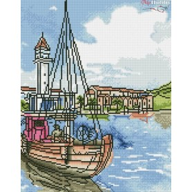 Diamond embroidery and mosaic paintings ' Coastal Town' Size 40x50cm DIY art. by Tsvetnoy - LG064e