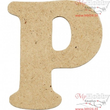Letter, P, H: 4 cm, thickness 2,5 mm, MDF, 1pc
