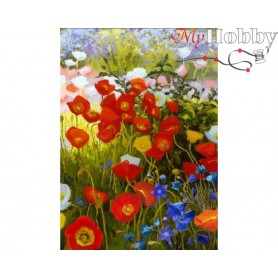 Diamond Embroidery Painting Kit Floral carpet, Article: DE7109 Collection D'Art - size 27x38 cm.