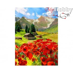 Diamond Embroidery Painting Kit Cottage in the mountains, Article: DE7108 Collection D'Art - size 27x38 cm.