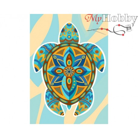 Diamond Embroidery Painting Kit Colourful turtle, Article: DE7106 Collection D'Art - size 27x38 cm.