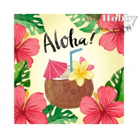 Diamond Embroidery Painting Kit Aloha, Article: DE7103 Collection D'Art - size 38x38 cm.