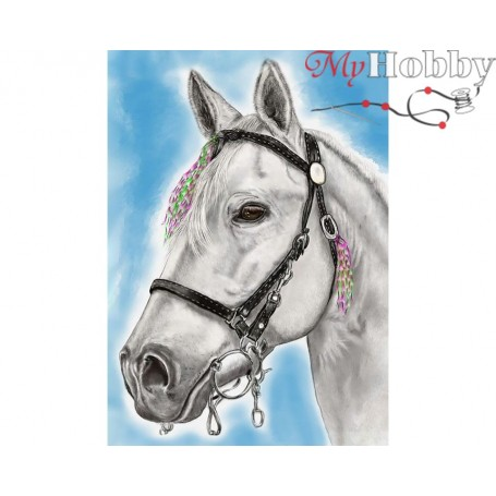 Diamond Embroidery Painting Kit White-maned, Article: DE7102 Collection D'Art - size 27x38 cm.