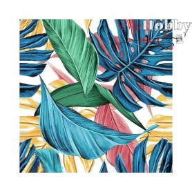 Diamond Embroidery Painting Kit Tropical leaves, Article: DE7101 Collection D'Art - size 38x38 cm.