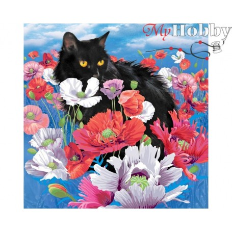 Diamond Embroidery Painting Kit Cat among poppies, Article: DE7100 Collection D'Art - size 38x38 cm.