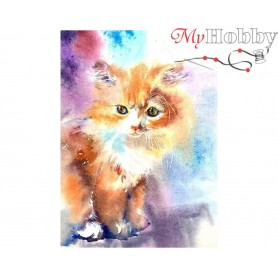 Diamond Embroidery Painting Kit Kitten, Article: DE7099 Collection D'Art - size 27x38 cm.