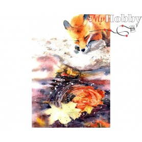 Diamond Embroidery Painting Kit Foxy, Article: DE7097 Collection D'Art - size 27x38 cm.