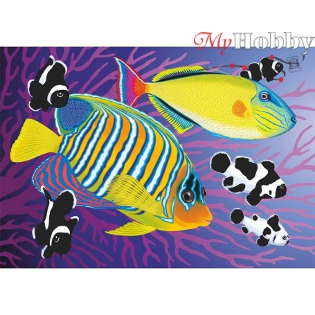 Diamond Embroidery Painting Kit Colourful fishies, Article: DE7096 Collection D'Art - size 27x19 cm.