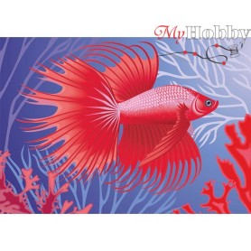 Diamond Embroidery Painting Kit Exotic fish, Article: DE7095 Collection D'Art - size 27x19 cm.