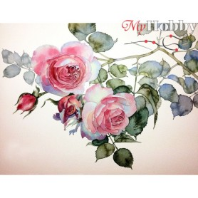 Diamond Embroidery Painting Kit Rose twig, Article: DE7093 Collection D'Art - size 38x27 cm.