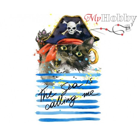 Diamond Embroidery Painting Kit Cat pirate, Article: DE7090 Collection D'Art - size 27x38 cm.