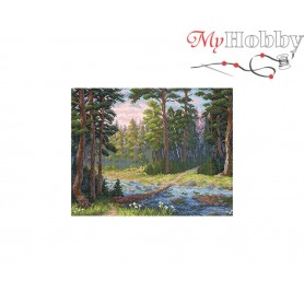 Diamond Embroidery Painting Kit Forested river Collection D'Art - size 48x38