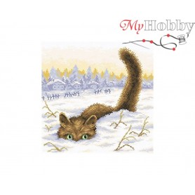 Diamond Embroidery Painting Kit Cat in the snow Collection D'Art - size 38x38