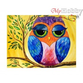 "Diamond Embroidery Painting Kit ""Rainbow owl"" Collection D'Art - size 21x17"
