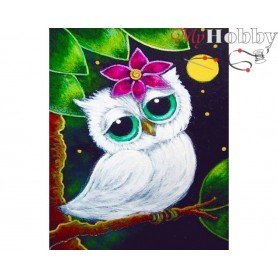 "Diamond Embroidery Painting Kit ""White owl"" Collection D'Art - size 17x21"