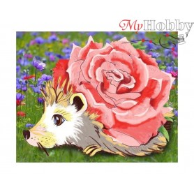 "Diamond Embroidery Painting Kit ""Rose hedgehog"" Collection D'Art - size 21x17"
