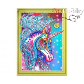 "Diamond Embroidery Painting Kit ""Fabulous unicorn"" Collection D'Art - size 30x40"