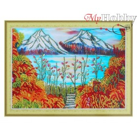 "Diamond Embroidery Painting Kit ""Golden mountain"" Collection D'Art - size 40x30"