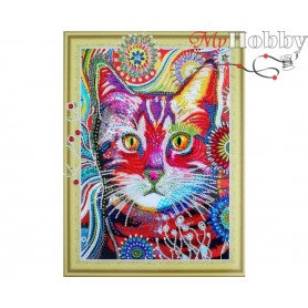 "Diamond Embroidery Painting Kit ""Cat in dandelinos"" Collection D'Art - size 30x40"