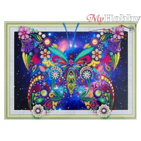 "Diamond Embroidery Painting Kit ""Flower butterfly"" Collection D'Art - size 40x30"