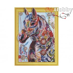"Diamond Embroidery Painting Kit ""Flower horse"" Collection D'Art - size 30x40"