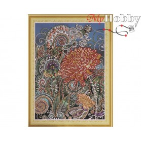 "Diamond Embroidery Painting Kit ""Golden chrysanthemum"" Collection D'Art - size 30x40"