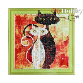 "Diamond Embroidery Painting Kit ""Cats in love"" Collection D'Art - size 30x30cm"